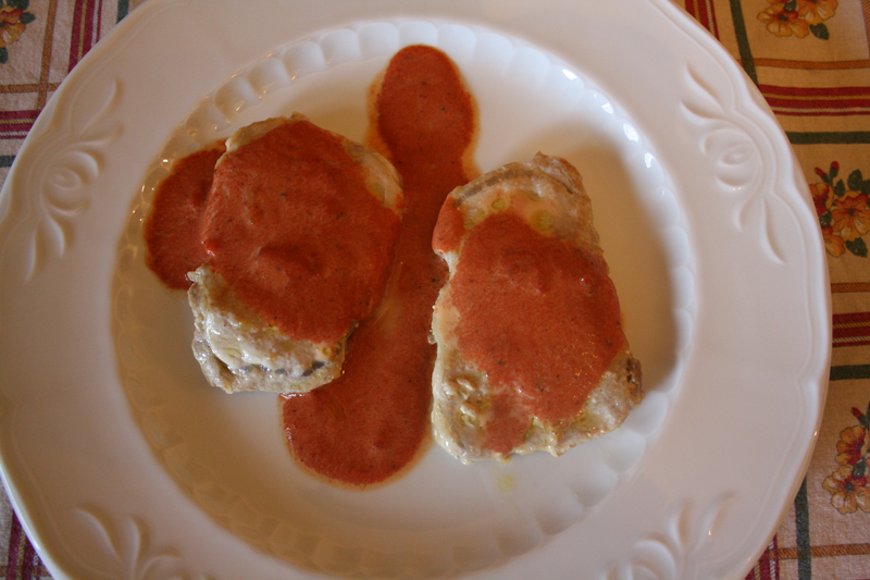 Filetitos de presa ibérica con salsa de pimientos