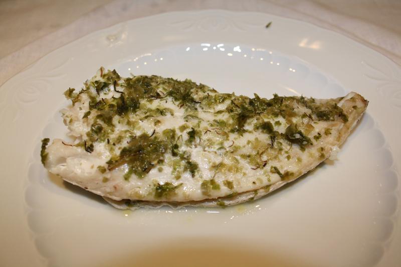 Pescado al horno con especies de algas (según Tupperware)