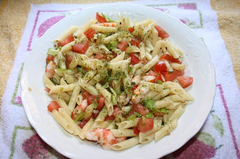 Ensalada de pasta con langostinos (por fín)
