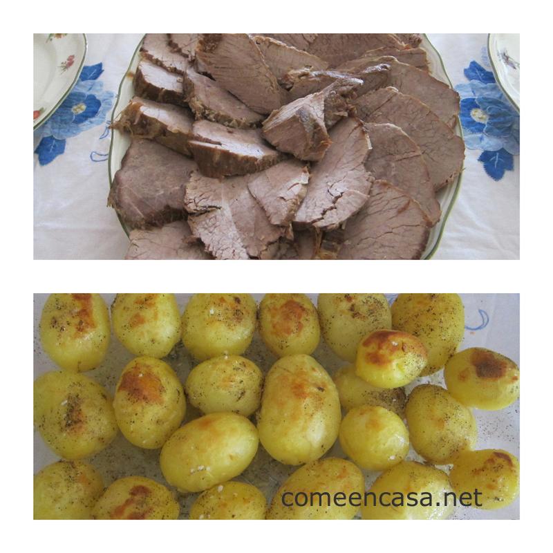 Carne mechada con patatas doradas