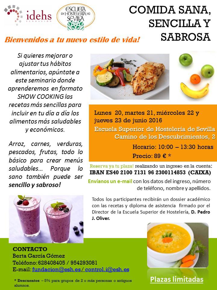 Cocina Sana en la Escuela de Hostelería de Sevilla | Come En Casa