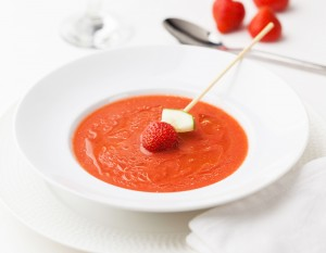 Gazpacho, a typical cold soup from Spain, in this case prepared with strawberries