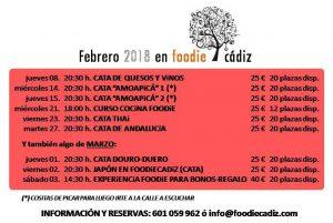 Foodie Cádiz, actividades en Febrero @ Local de Foodie Cádiz,