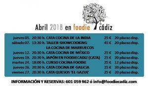 PROGRAMACIÓN ABRIL FOODIE CADIZ @ Sede de Foodie Cádiz
