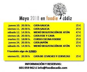 Programación Foodie Cádiz mayo @ Local Foodie Cádiz