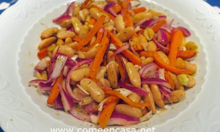 Fabes aliñadas con zanahorias