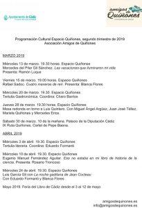 PROGRAMACIÓN ESPACIO QUIÑONES 2º Trimestre 2019