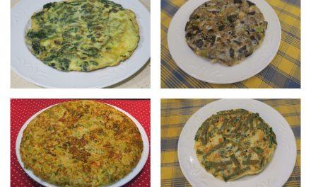 Cuatro tortillas de verduras para la cena
