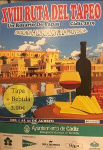 RUTA DEL TAPEO DE CÁDIZ 2019 @ 30 Establecimientos de la ciudad de Cádiz