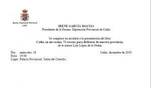 "PRESENTACIÓN LIBRO ""Cádiz en mi cocina"", de Lola López @ PALACIO PROVINCIAL DIPUTACIÓN DE CADIZ"