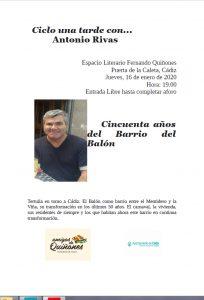 Ciclo una tarde con...  Antonio Rivas - ESPACIO QUIÑONES @ Espacio Quiñones, junto Puerta de La Caleta, Cádiz.