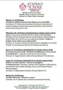 ATENEO DE CÁDIZ - PROGRAMACIÓN MES DE MARZO @ Ateneo Científico y Literario de Cádiz
