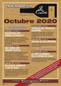 PROGRAMACIÓN LA CASAPUERTA OCTUBRE 2020 @ LA CASAPUERTA BAR
