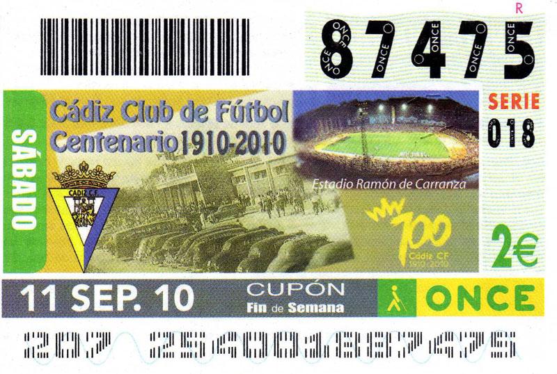 El Cádiz CF en el cupón de la ONCE