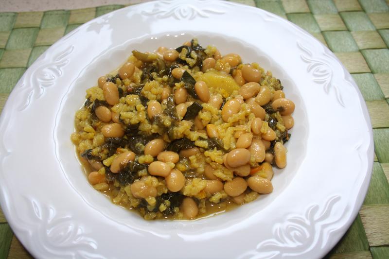 Frijoles de Conil con arroz, acelgas y algas