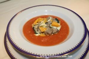 Gazpacho de sandía con tartar de atún