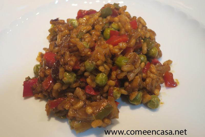 Arroz con verduras al Pedro Ximénez