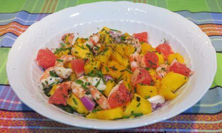 Ensalada de langostinos con mango