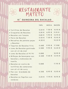 QUINCENA DEL BACALAO EN BODEGA MATETO @ Bodega Mateto
